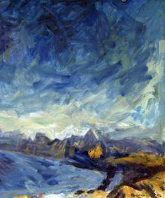 Sir Toss Woollaston, 'Rhapsody in Blue', Abstract Landscape, Landscape Paintings, Landscapes, Art Maori, Rhapsody In Blue, New Zealand Landscape, New Zealand Art, Nz Art, European Paintings