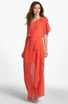 Hailey by Adrianna Papell One Shoulder Chiffon Dress