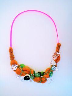 unconventional jewelry fiber statement necklace by JIAKUMA