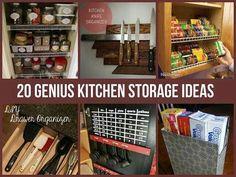 Love it!!!  http://diycozyhome.com/20-genius-storage-hacks-for-the-kitchen