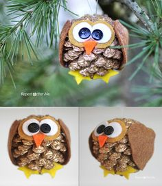 DIY Pinecone Owl Christmas Ornaments