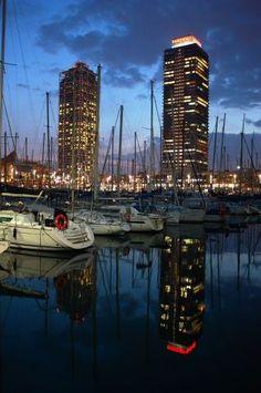 Barcelona at night, lights on