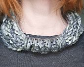 Infinity Scarf Necklace Loop Crochet Scarflette Neckwarmer , Grey  multicolor yarn Tribal necklace