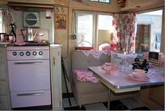 This pink 1959 trailer had minimal restoration work done.