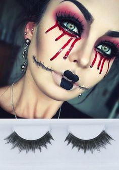 Creepy Halloween makeup by Emzeloid using GWA's Spellbound lashes #halloween2015 #halloweenmakeup #lashes #gwalondon