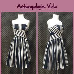 """2005 Anthro """"Regatta Dress"""" by Viola Old school Anthro.  Floreat condition, zip closure, runs almost a size small.  (Labelled a 6- feels more like a 4) Great condition.  Cotton/Lycra blend woven fabrication. Lined and has boning in bodice.  Necklaces are curtesy of Cultiverre's Closet. Available from @cultiverre  **  Prices are as listed- Nonnegotiable.  I'm happy to bundle to save shipping costs, but there are no additional discounts.  No trades, paypal or condescending terms of endearment…"""