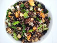 Carrot, celery, dried figs, diced apple, mint, chickpea, dried currants and quinoa salad with pineapple dressing