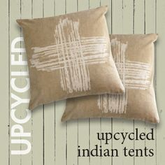 Upcycled from salvaged, vintage Indian tent canvas &  screen printed with foundling's Islington Cross, this cushion cover is hardy, durable and rich with history. Each cushion is constructed from vintage canvas a- unique in terms of their colour, texture & individual markings.  http://www.foundling.com.au/collections/homewares/products/indian-tent-canvas-cushion