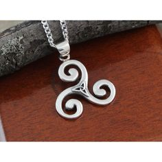 Triskelion Necklace With trinity, Sterling silver Triskele Necklace,... ($32) ❤ liked on Polyvore featuring jewelry, necklaces, pendants & necklaces, spiral necklace, sport necklace, sports pendants and sterling silver jewelry