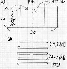 ↑蛇腹式カードケースの蛇腹のポケット部分の説明です。ポケット部分の土台布15×28センチ(4辺に1センチの縫い代をとり裁断する)土台布の芯(不織布の薄手でサイズは↑と同じ)ポケット部分は裁ちきりで15×30センチを5枚用意する↑土台布に芯を貼り、ポケット部分は5枚とも両端1センチ折りこみしっかりアイロンをかけておく(でき幅は13センチ)↑ポケットの5枚は中央に折りアイロンをかけて幅13センチ、長さ15センチにしておく↓一枚目のポケットは折ってあるほうを下にして土台布の下から2センチのところに中央を縫い付ける↑残りのポケット部分4枚も2枚づつ折ってあるほうを内側にして中央をミシンかけする↑土台布に2枚づつ中央を縫ったポケットを重ねて全部で5枚にして中央をしつけをかけて止めておく↑2枚目の裏側と4枚目、5枚目の裏側...蛇腹式カードケースのポケットの作り方