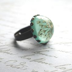 Queen Anne's Lace flower resin ring. cool.