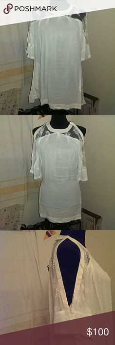 Last Chance! Ivory XS Free People Tunic NWT Ivory loose and breezy Beachy Peachy Tunic or cover up by Free People.  Light, sheer material, with delicate lace details at the top. Slashed sleeves to bare your shoulders and upper arms. Pockets for an effortless, casual look.  No longer available on the Free People website! The first picture is from the website, the rest are of the actual item.  Questions are encouraged! Price is firm. Free People Swim Coverups