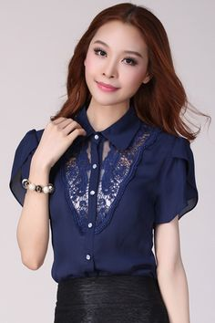 Korean Summer Fashion Short Sleeve Chiffon Blouse