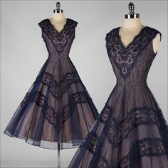 vintage 1950s dress . blue lace and mesh . by millstreetvintage