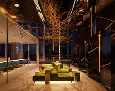 Interior renderings covering the amenity spaces of 2 floors of a private tower project.