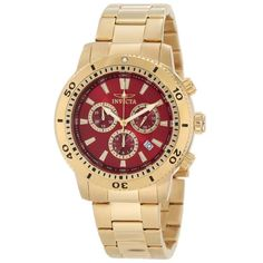 Invicta 10361 Men's Specialty Gold Tone Stainless Steel Red Dial Chronograph Watch
