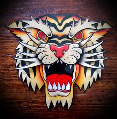 Traditional American Tattoo Style Original Hand Painted Tiger Head
