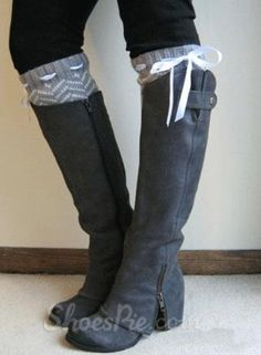 sweet Fashionable Gray Coppy Leather Knee High Boots with Chic Zipper Decoration
