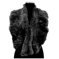 Rabbit Slip through Muffler-Black Rabbit Fur Coat, Stitch Fit, Fur Wrap, Autumn Fashion, Color Black, Jackets, Coats, Free Shipping, Style