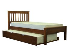 Bedz King Twin Bed Expresso with Trundle $296 at Bunk Bed King | FREE SHIPPING Nationwide to your Home.