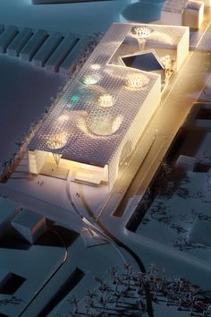 Architectural model for Institute of Diplomatic Studies in Riyadh, Saudi Arabia, by Henning Larsen. The institute is currently under construction.