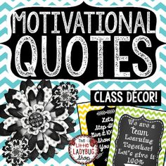 Motivational Quote Posters can be so inspiring to students! Hang these beautiful Colorful Chevron Chalkboard Posters in your room! They are classy and simple that they compliment MANY classroom themes! These are perfect for laminating and hanging all year on your bulletin boards or class door!