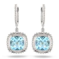 @Overstock.com - These filigree classical dangle earrings are made with cushion checkerboard-cut sky-blue topaz and round-cut white diamonds set in sterling silver. The earrings are secured with hinge-with-notched-post backs and glimmers with highly polished accent.http://www.overstock.com/Jewelry-Watches/Miadora-Sterling-Silver-8-1-2ct-TGW-Blue-Topaz-and-Diamond-Accent-Earrings/6348471/product.html?CID=214117 $94.99