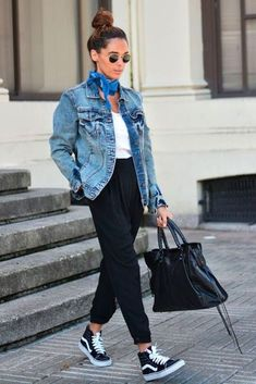 Denim jacket, white tee, sneakers and a bandana - #outfits #womensclothes #clothingstores #clothesonline #onlineclothesshopping #fashiondresses #fashionclothes #womensoutfits #shopbyoutfit #outfitsforwomen #fashionshop #cuteoutfits #fashionoutfits #dressoutfits #buyoutfits #shopbyoutfitwomens #newfashionclothes #outfitonline #falloutfitsforwomen #shoppingoutfits #fancydressoutfits #buycompleteoutfits #outfitsale #outfitclothing #dresses