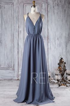 Bridesmaid Dress Steel Blue Chiffon Wedding Dress V Neck Prom