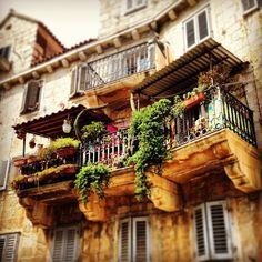 Balcony in Bol, a town on the island Brac, Croatia.