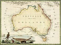 Items similar to Fine Art Canvas Print - New Holland - Vintage Map of Australia from Antique World Map on Etsy