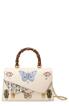Medium Linea P Butterfly Painted Leather   Genuine Snakeskin Top Handle  Satchel Painting Leather f650d8e3f2e41