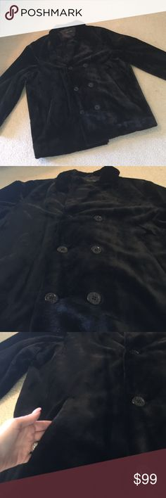Men's black faux fur coat In excellent condition. Never worn. Bought a couple holidays ago.  Has buttons with anchors on it and coat style has a double breasted pea coat style. Looks very handsome on!!! A very nice line of faux fur coats. Does not look cheap on!! donna salyers Jackets & Coats Pea Coats
