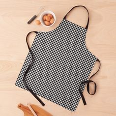 """""""Black and White Houndstooth Pattern"""" Apron by honorandobey   Redbubble Black N Yellow, Black And White, Long Black, Black Apron, Custom Aprons, Apron Designs, Gingham Check, Green Pattern, Icon Design"""