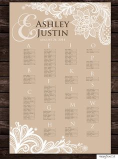 Wedding Seating Chart - Free Rush Service 12 Hours - Rustic Lace Seating Chart…