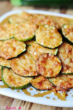 Baked Parmesan Zucchini Rounds ~ you're just 2 ingredients away from a quick and easy, delicious summer side dish!