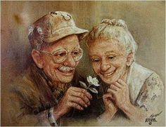 Personnes agées Love In Bloom by Dianne Dengel Vieux Couples, Serge Reggiani, Grow Old With Me, Older Couples, Growing Old Together, Old Folks, Lasting Love, Young At Heart, Illustration