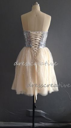 Sexy Short Sequins Beaded Champagne Prom Dress by DressCreative, $108.00