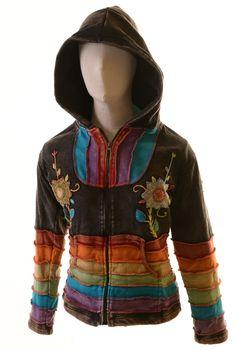 e2de5b64ba03 Stonewashed Patchwork Batik Nepal Jacke mit Kapuze Hippie Goa Alternativ    eBay