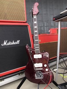 Queens of the Stoneage's Troy van Leeuwens upcoming signature Jazzmaster. CandyOxbloodRed as he calls it.