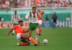 Holland 2 Rep of Ireland 0 in 1994 in Orlando. Andy Townsend in tackled by Frank Rijkaard in Round 2 of the World Cup.