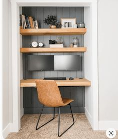 How to Turn a Closet into a Home Office | FlexJobs Tiny Home Office, Home Office Closet, Small Home Offices, Small Space Office, Guest Room Office, Office Nook, Home Office Setup, Home Office Space, Home Office Design
