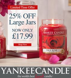 25% Off ALL Yankee Candle Large Jars - This Weekend Only! - Candles Direct - Bargain Hunters