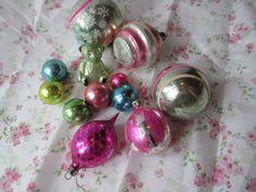 Vintage Pastel Glass Christmas Ornaments One Dozen by jenscloset, $34.50