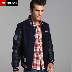 62% off Mens Hit Color Embroidery Casual Wear Navy Woolen Varsity Jacket hot sale uk with free shipping & fast delivery!