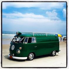 cyclops down by the sea ♠ green vw panel bus ♠ re-pinned by  http://www.wfpblogs.com/author/thomas/