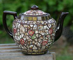Mosaic Teapot - fusing ceramics and mosaics. Brill. DayBreak Mosaics