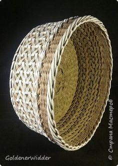 Поделка изделие Плетение Японское-послойное с послойным в две трубочки Бумага газетная Трубочки бумажные фото 4