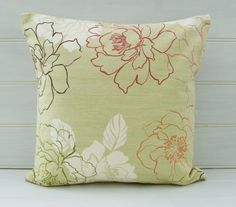 Green Floral Cushion Cover  size 16ins  Decorative by GreenCallow
