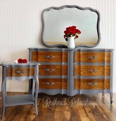 "Check out this fabulous vintage, French provincial nightstand and dresser set by Redhead Refinishings! They comment, ""The drawer fronts were hand sanded and stained in General Finishes Antique Walnut Gel Stain. The body was painted in GF Milk Paint 'Driftwood' and coated in their High Performance Satin Topcoat for durability."""
